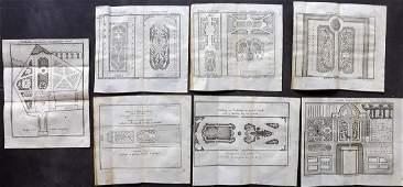 Pluche Noel 1748 Lot of 7 Garden Parterre Prints