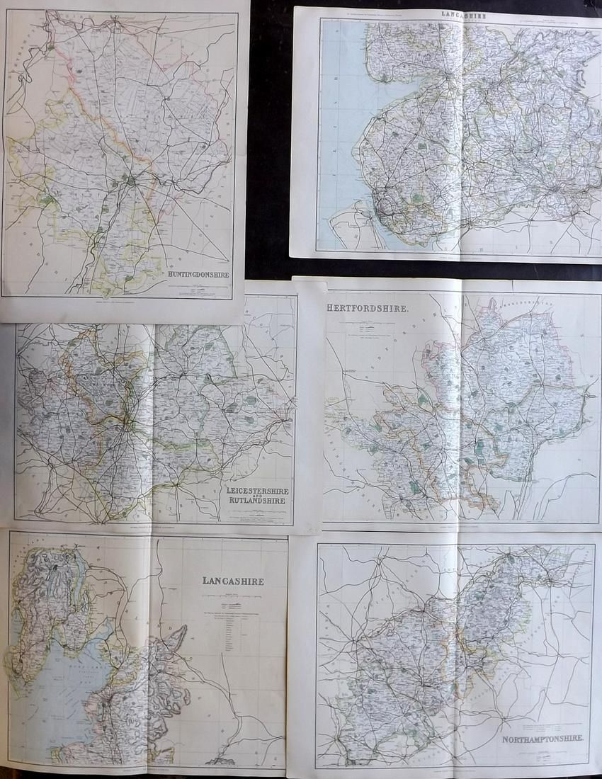 Philip, George C1895 Lot of 6 British County Maps