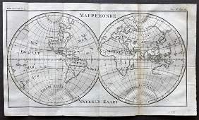 Pluche Noel 1748 Map of The World Hemipsheres