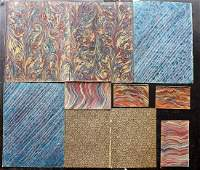 Marble End Papers Bookbinding 19th Cent Lot of 10