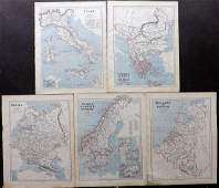 Butler, George 1874 Lot of 5 Maps of Europe