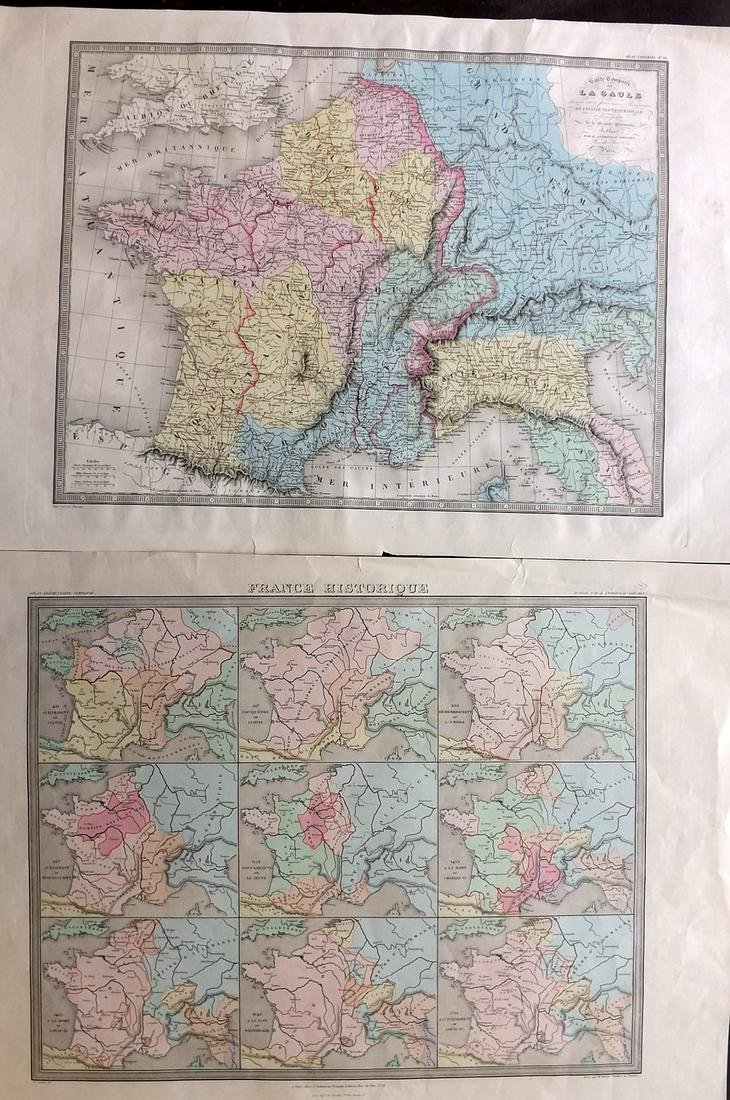France C1840-75 Pair of Large Hand Colored Maps
