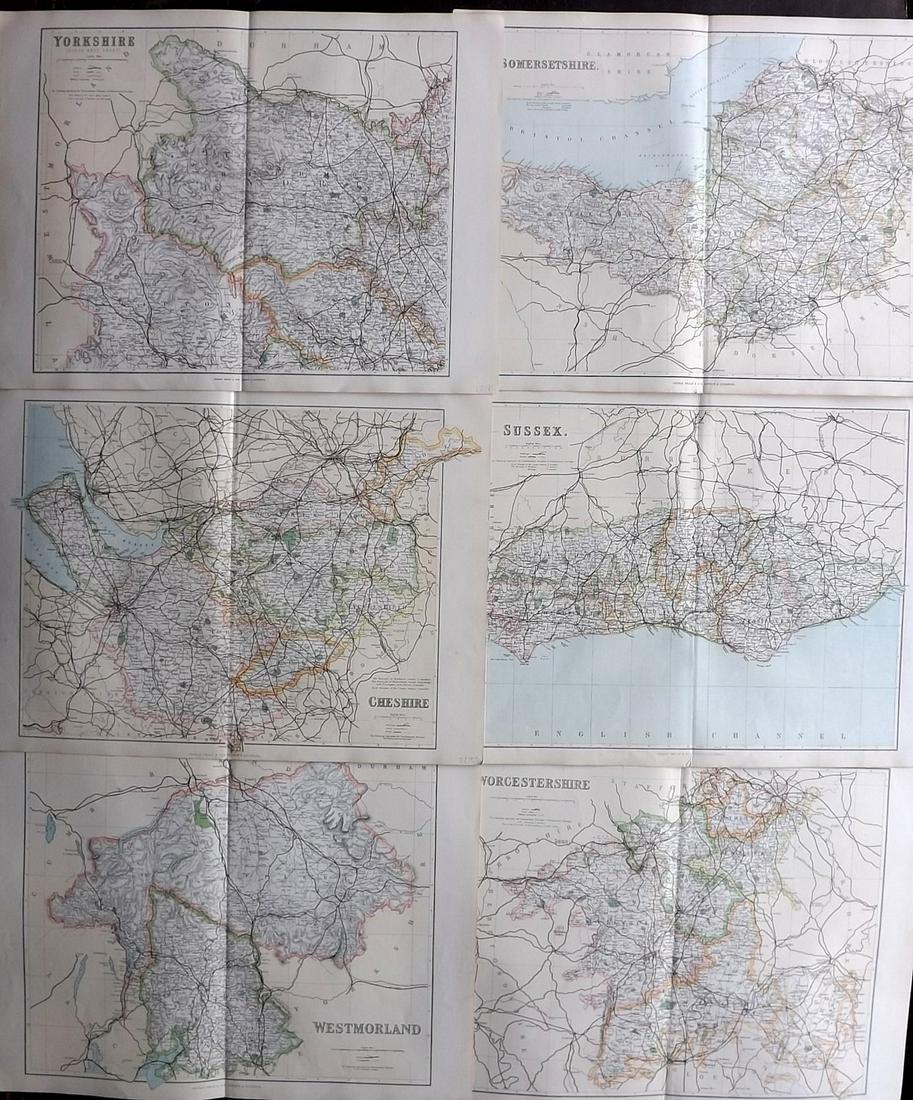 Philip, George C1895 Lot of 6 British County Maps
