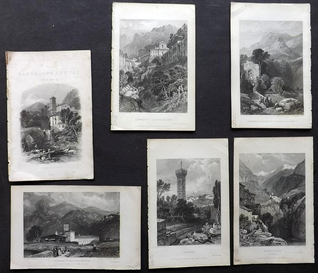 Italy 1836 Lot of 6 Steel Engraved Views by Roscoe