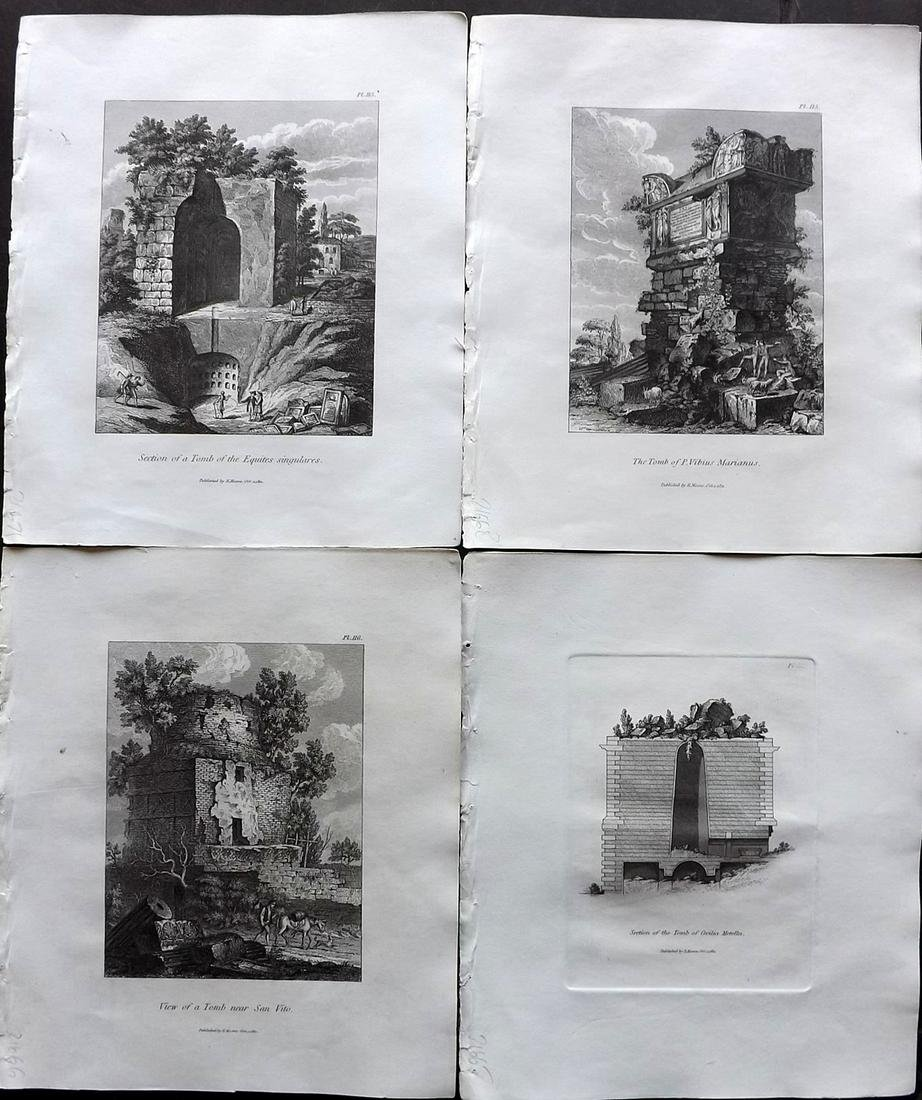 Moses, Henry 1840s Lot of 4 Architectural Prints. Italy