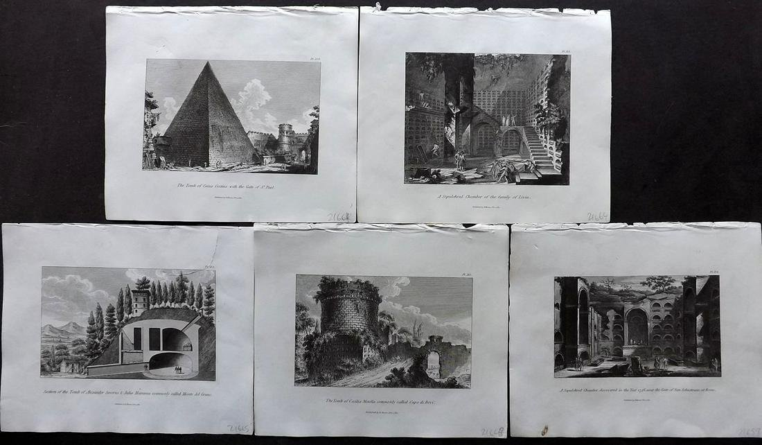 Moses, Henry 1840s Lot of 5 Architectural Prints. Italy