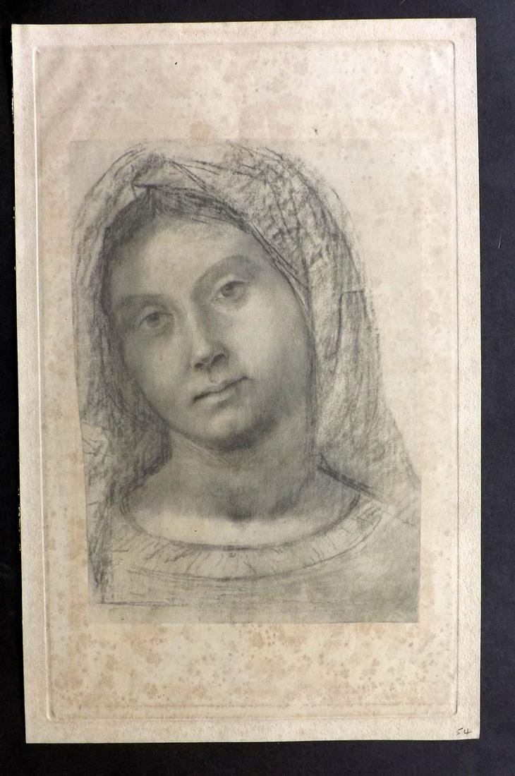 After Correggio? C1880 Folio Print of the Virgin Mary