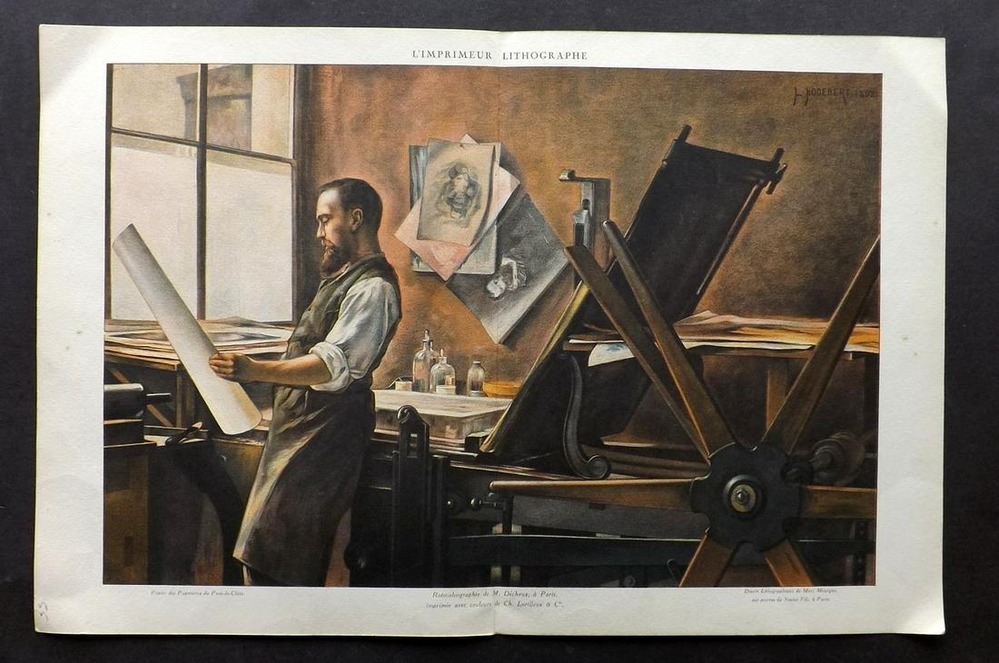 After Hodebert C1898 LG Print of a Lithographer