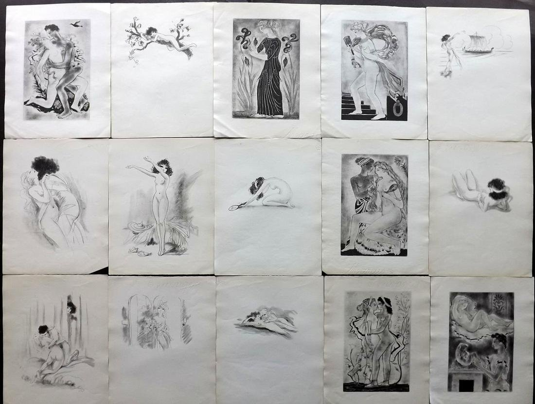 Erotica C1920 Lot of 15 Prints on Hand Made Paper