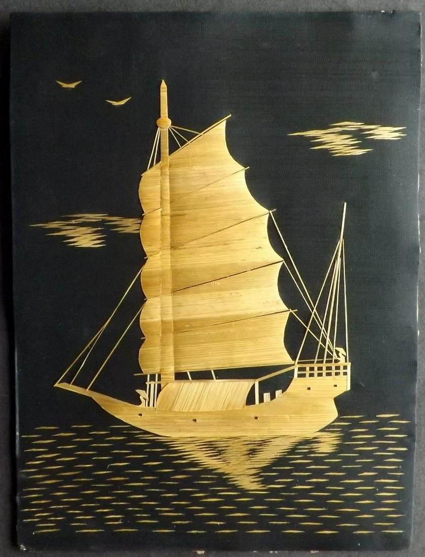 Japan C1900 Silk & Bamboo Picture of a Junk. Hand Made