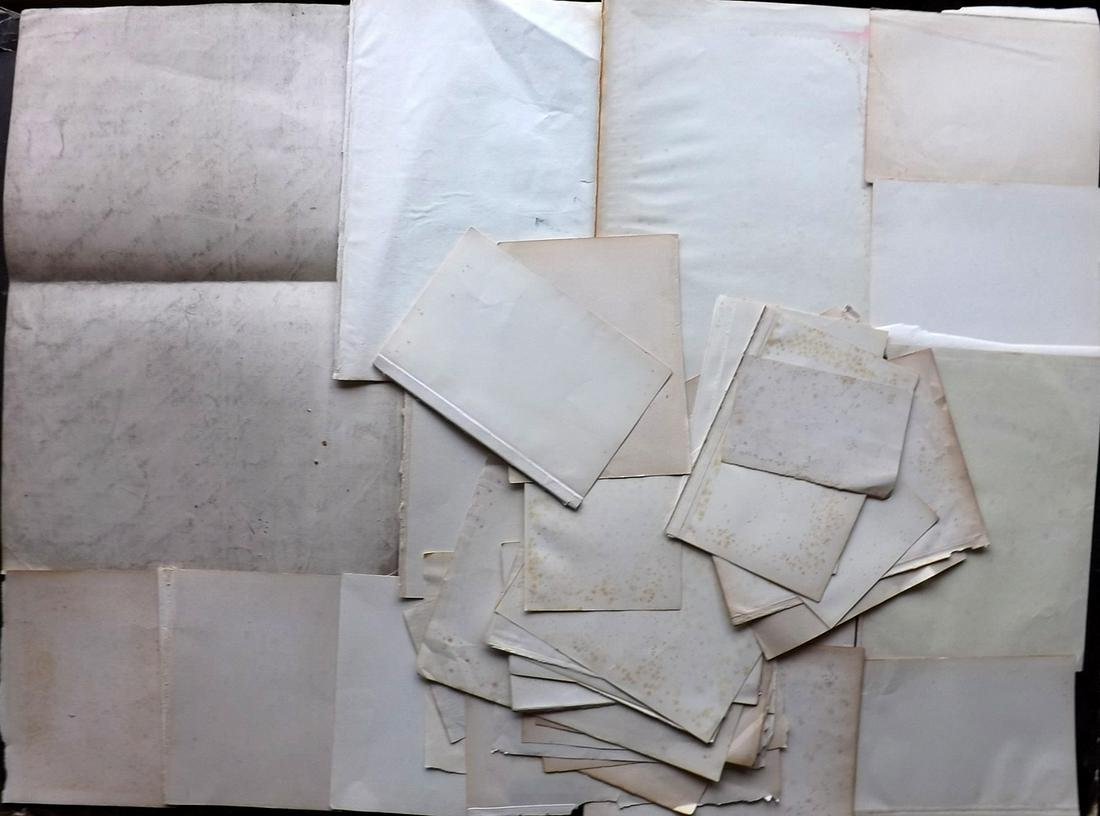 Old Paper, Bookbinding 18th-19th Cent. Lot of 42 Sheets