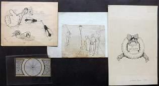 Original Art 19th Cent. Lot of 4 Pen & Ink Drawings