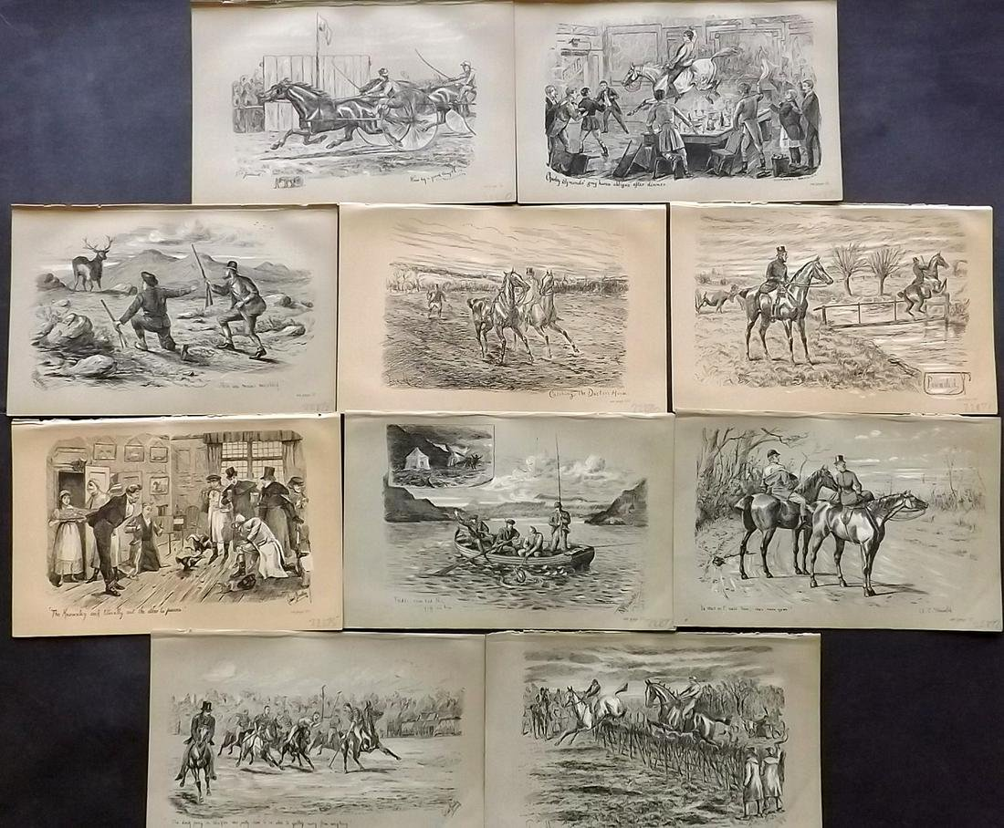 Fores C1890 Lot of 10 Sporting Prints