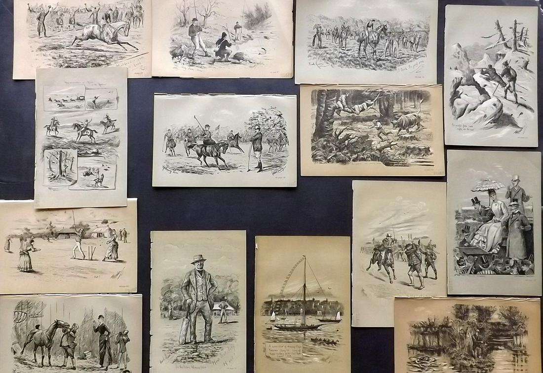 Fores C1890 Lot of 14 Sporting Prints