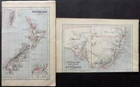 Butler George 1874 Pair of Maps Australia New Zealand