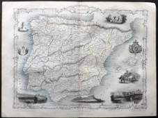 Tallis Pub 1854 Map of Spain and Portugal