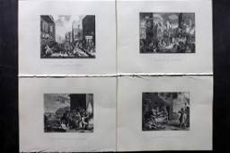 Hogarth, William C1880 Lot of 4 Prints. The Invasion
