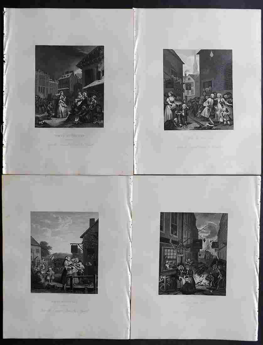 Hogarth, William C1880 Set of 4. Four Times of Day
