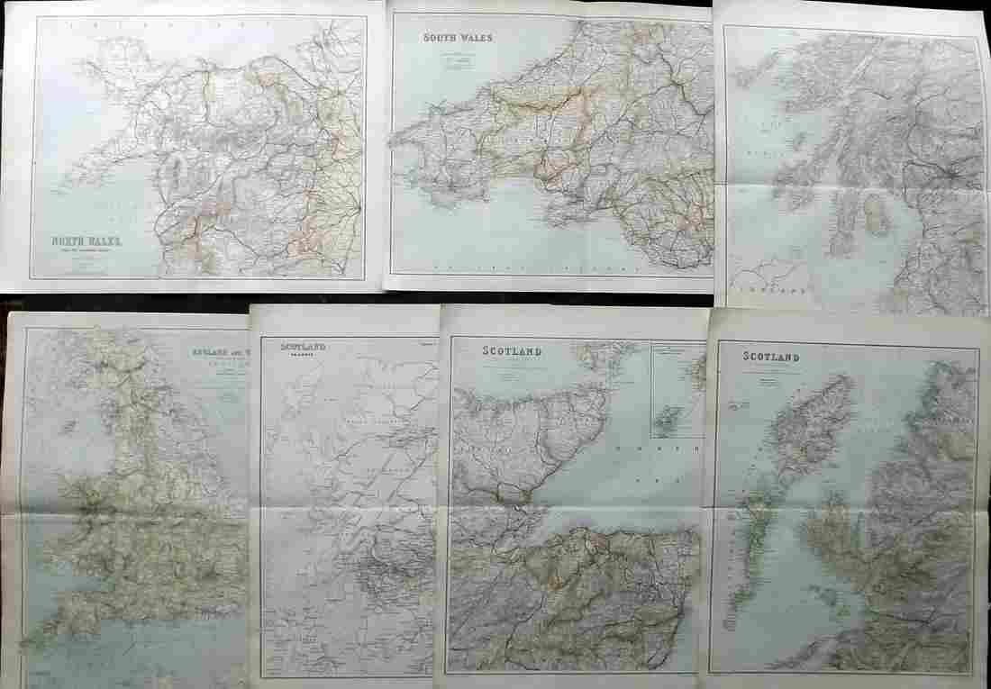 Philip, George C1895 Lot of 7 British County Maps