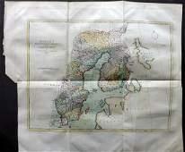 Lyttleton, George 1810 Hand Col Map of Sweden