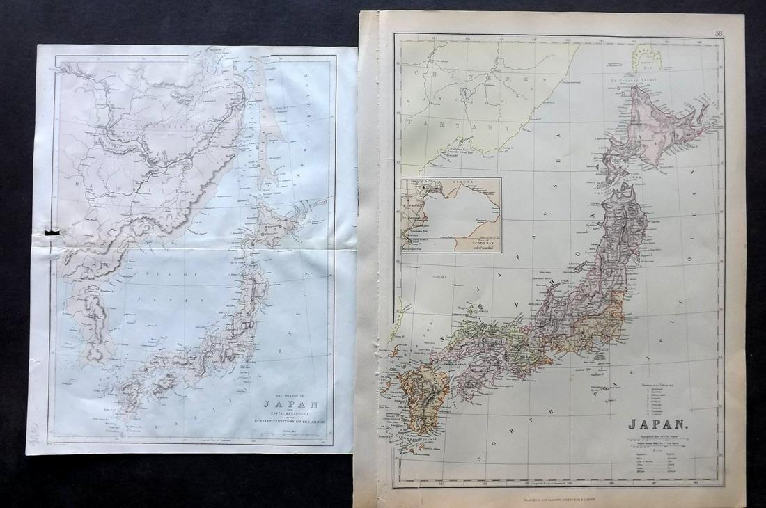 Japan C1880 Pair of Maps by Nolan & Blackie
