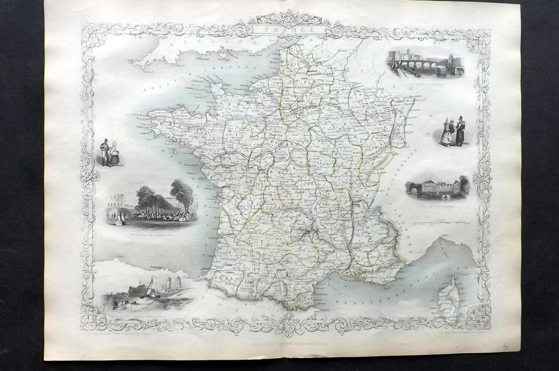 Rapkin, John & Tallis, John 1854 Map of France