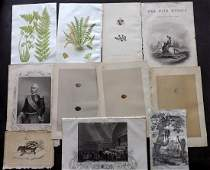 Mixed Prints 19th Cent Lot of 40 Engravings  Lithos