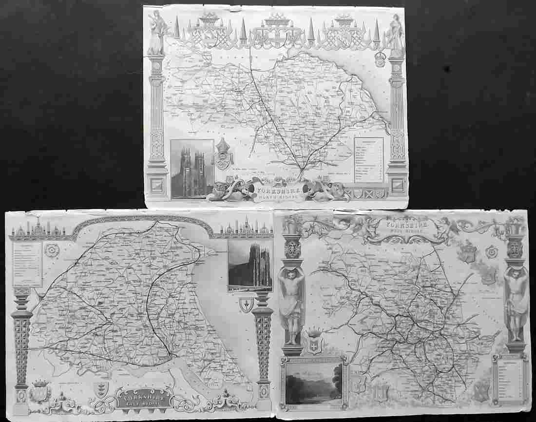 Moule, Thomas C1850 Lot of 3 British Maps. Yorkshire