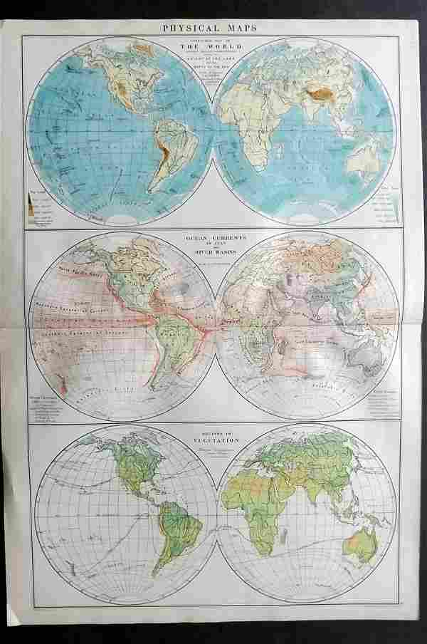 Philip, George C1900 Physical Hemisphere Map