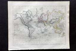 Becker F C1850 Antique Map World on Mercators Proj