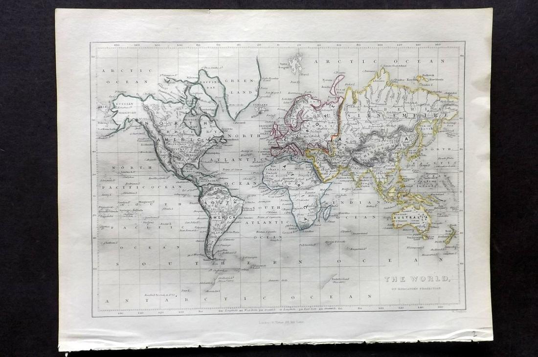 Becker, F. C1850 Antique Map. World on Mercator's Proj.