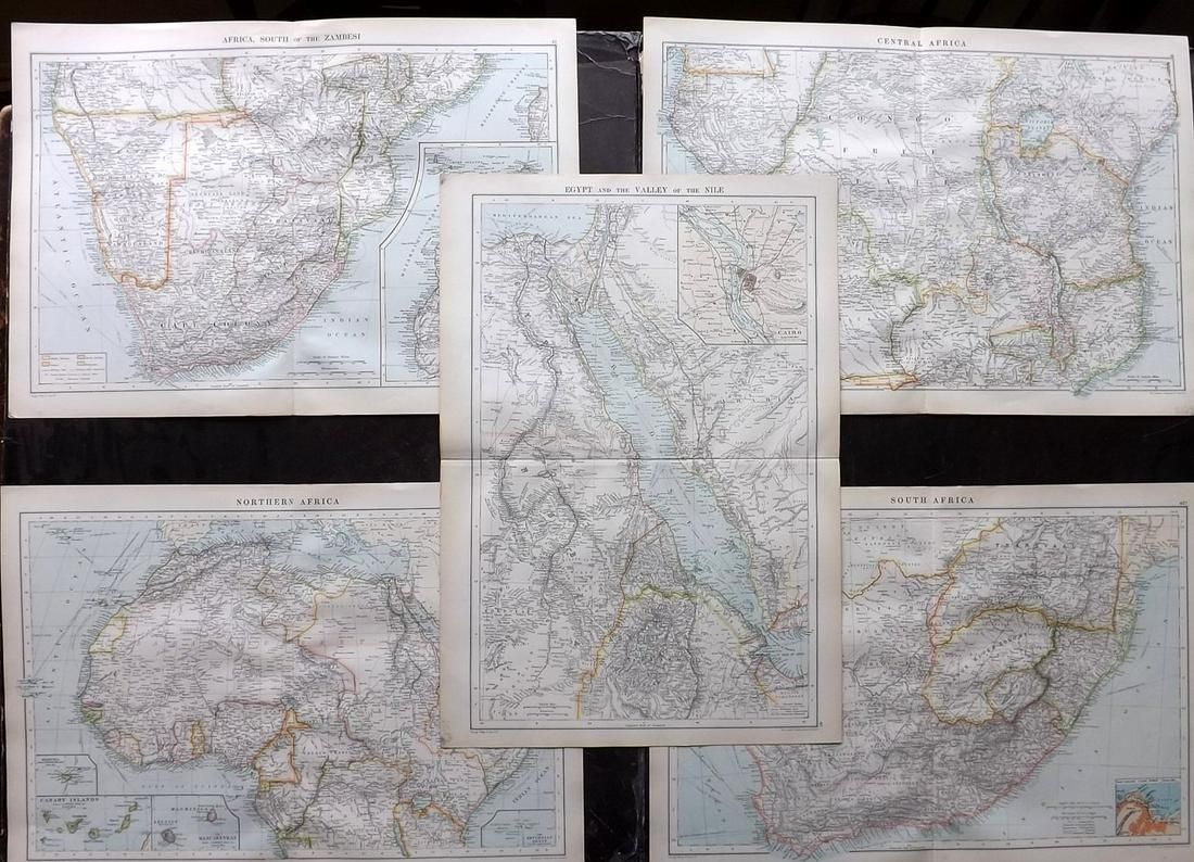 Philip, George C1900 Lot of 5 Maps of Africa