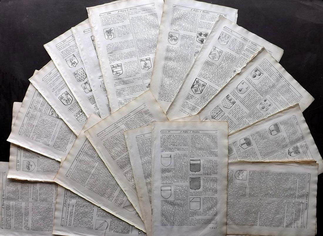 Guillim, John 1724 Lot of 40 Sheets. Coats of Arms