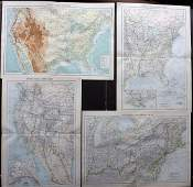 Philip George C1900 Lot of 4 Maps of the USA