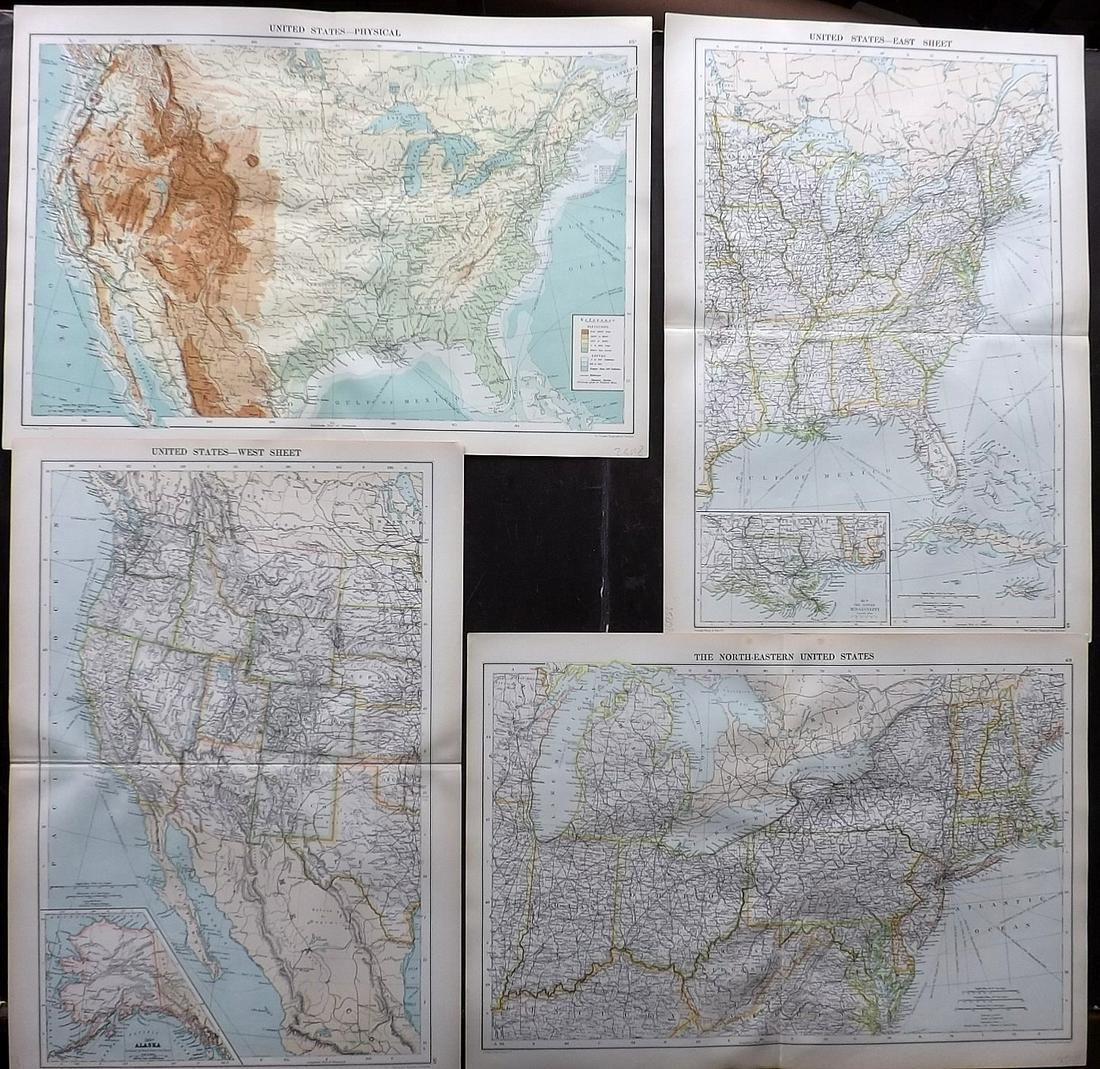 Philip, George C1900 Lot of 4 Maps of the USA
