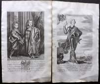 Guillim, John 1724 Pair of Folio Decorative Portraits