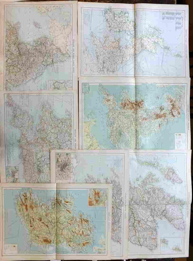 Philip, George C1900 Lot of 7 Maps of UK & Ireland