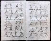 Hall, William 1791 Pair of Folio Prints. Sword Fencing