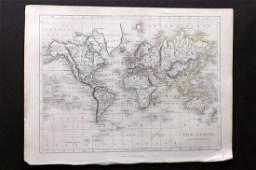 Becker F C1838 Antique Map World on Mercators Proj