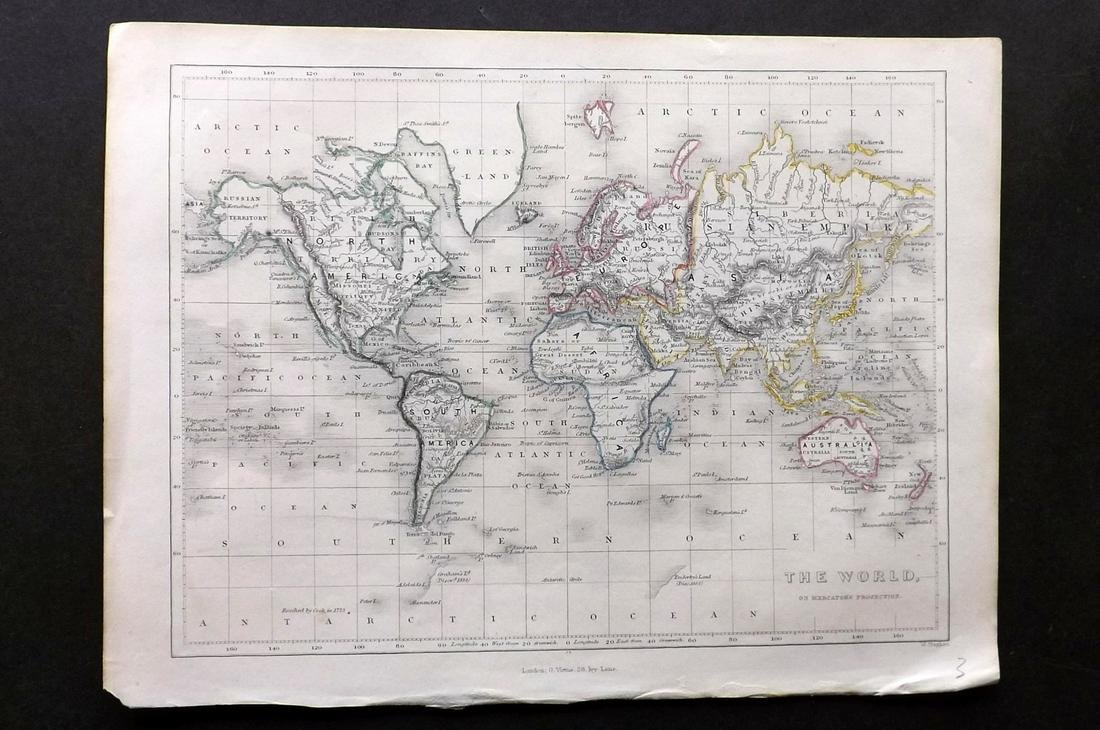 Becker, F. C1838 Antique Map. World on Mercator's Proj.