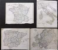 Becker, F. C1838 Lot of 4 European Maps