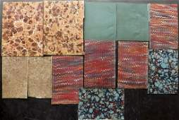 Marble End Papers Bookbinding 19th Cent Lot of 12
