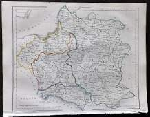 Becker F C1850 Antique Map of Poland