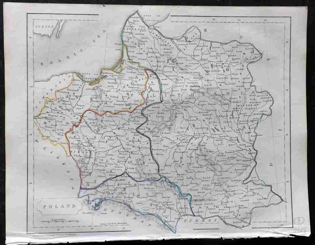 Becker, F. C1850 Antique Map of Poland