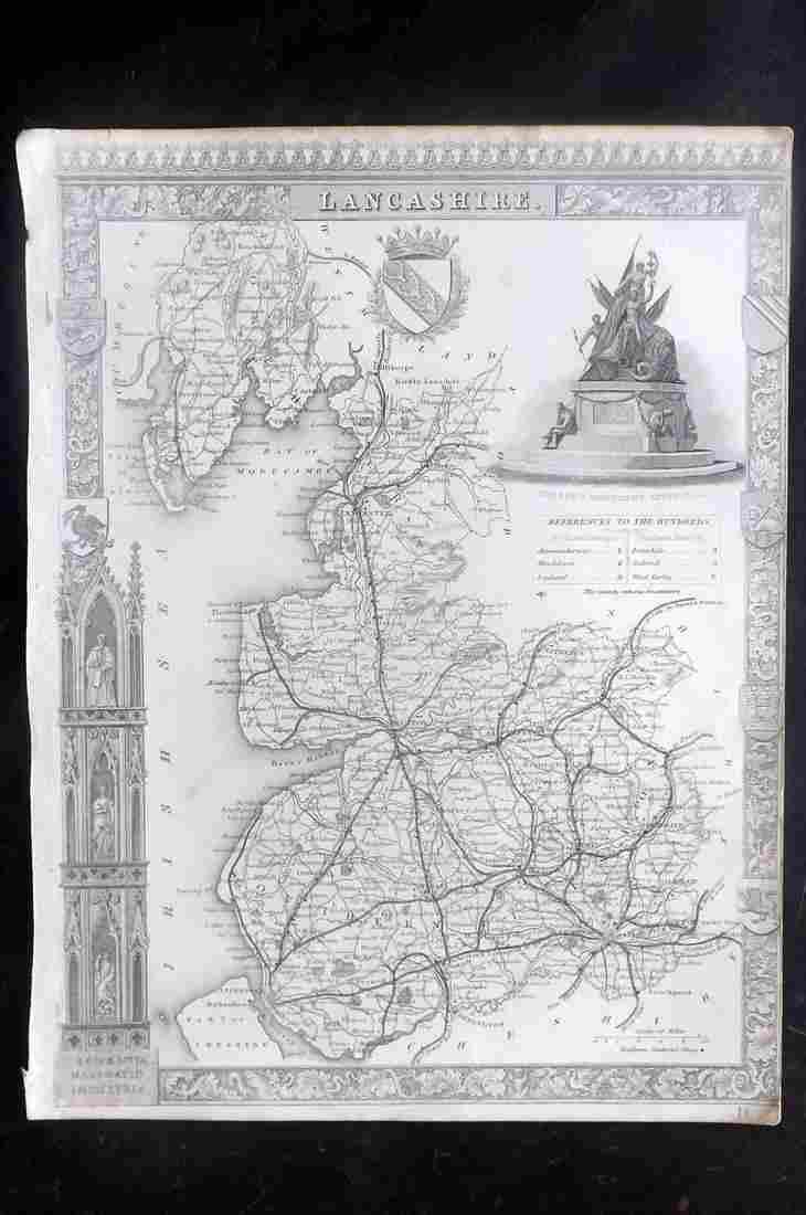 Moule, Thomas C1838 British Map. Lancashire