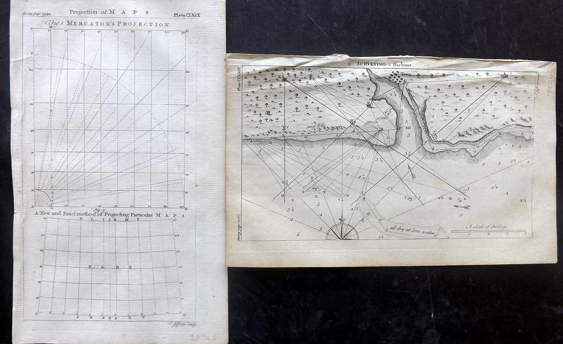 Maps 1756 Pair. Surveying a Harbour, Mercator's Proj.