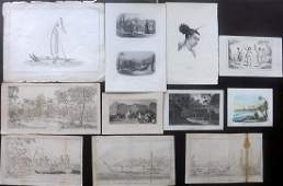 Pacific Oceania 19th Cent. Mixed Lot of 11 Prints