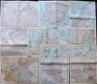 Europe 1903 Lot of 9 Maps. Germany, France, Austria