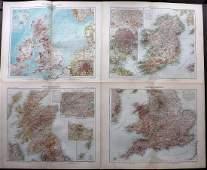 Stieler Adolph 1905 Lot of 4 Maps UK  Ireland