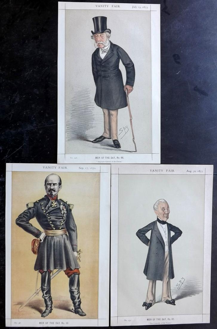 Vanity Fair Prints 1873 Lot of 3 Prints. Military